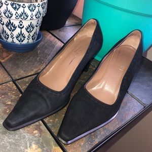 $99 Gucci Suede Square Pointy Toe Pump 37 6.5